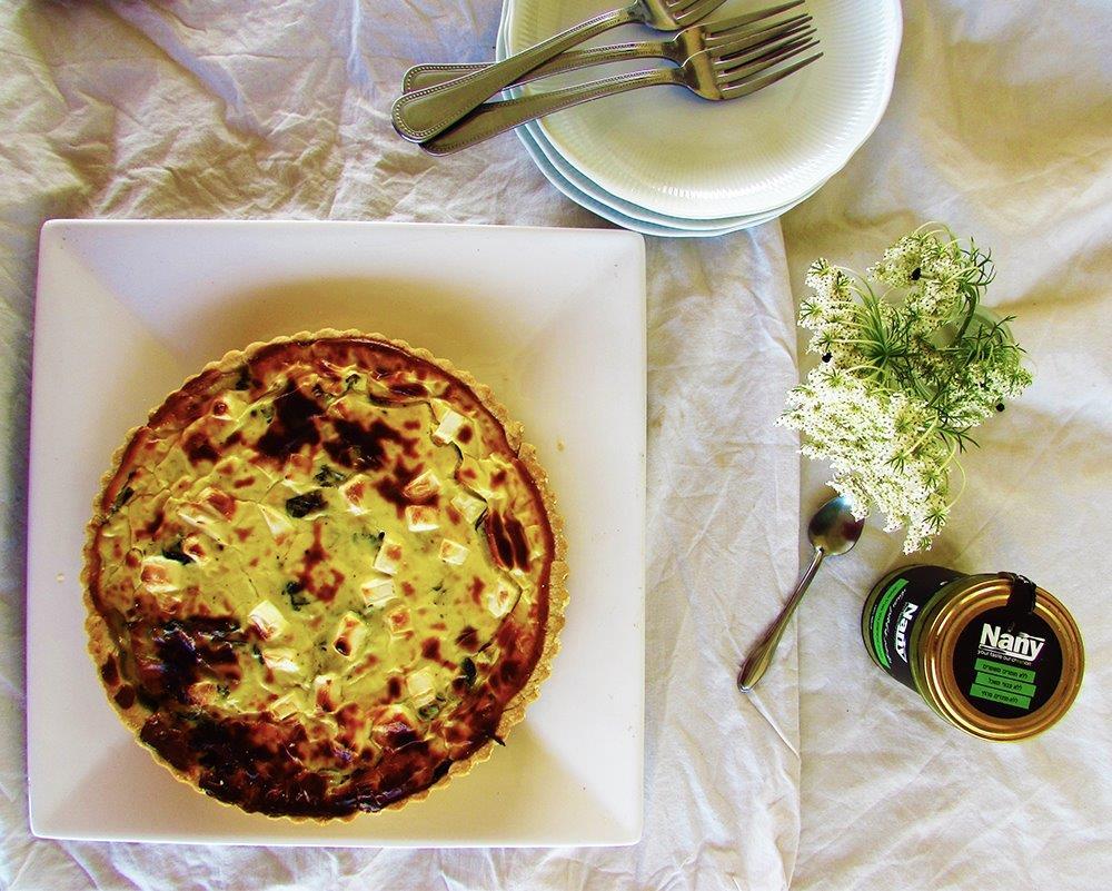 מתכון לקיש גבינות עיזים עם מנגולד ירוק