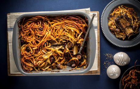 מתכון חמין ספגטי עם אסאדו, ערמונים וטימין