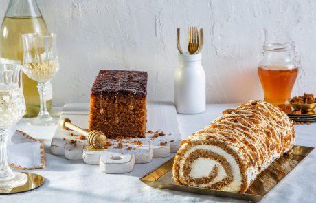 רולדת דבש עם קצפת וזיגוג שוקולד לבן ודובוש טורט דבש במתכון מסורתי מנצח